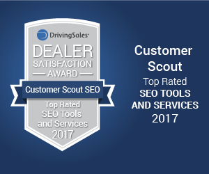 "Customer Scout SEO ""TOP RATED"" DRIVINGSALES DEALER SATISFACTION AWARD"